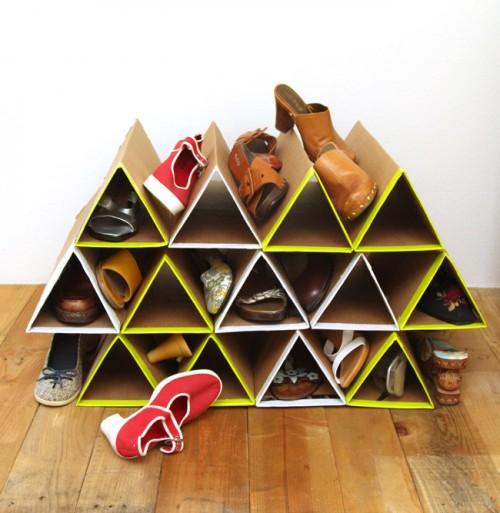 Rak sepatu siap digunakan